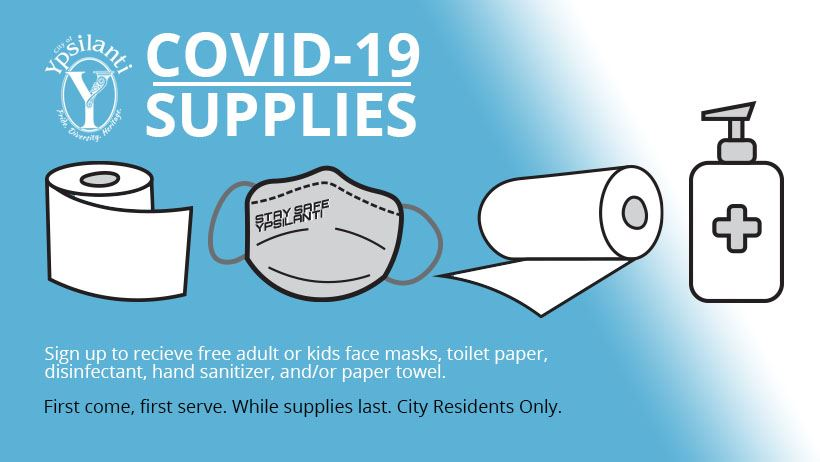covid supplies clip art - toilet paper, sanitizer, paper towel, mask that says stay safe ypsi