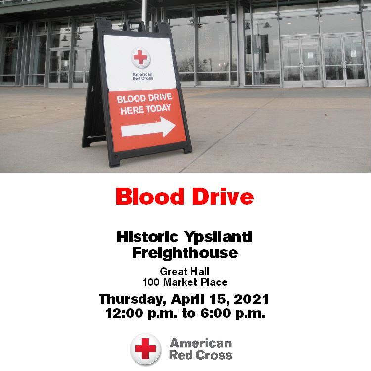 "Sign that says ""blood drive here today"" Historic Ypsilanti Freighthouse April 15 12-6pm"
